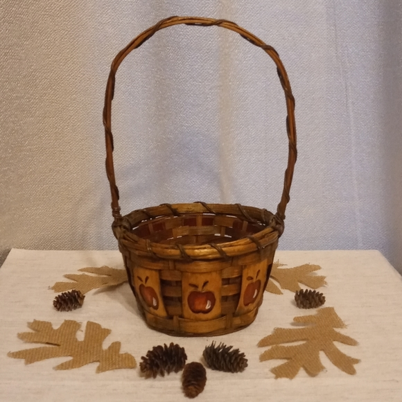 Wicker Basket With Painted Apples